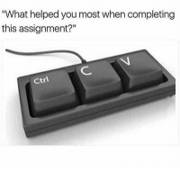 "Memes, 🤖, and How: ""What helped you most when completing  this assignment?""  ctrl How I pass every class 💻 @memes"
