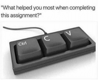 "Funny, Lol, and Help: ""What helped you most when completing  this assignment?""  Ctrl Lol didn't this help us all lol"
