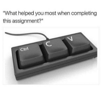 "Memes, Cool, and Thought: ""What helped you most when completing  this assignment?""  ctrl when i was a kid i thought i was the only only who knew about ctrl+c and ctrl+v and i thought i was so cool honestly :~)) @nuggeret"