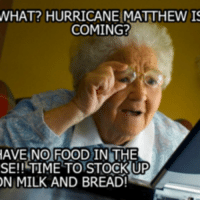 WHAT? HURRICANE MATTHEW IS  COMING?  HAVE NO FOOD IN THE  SE!! TIME TO STOCK UP  ON MILK AND BREAD!