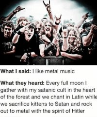 funny music: What I said: I like metal music  What they heard: Every full moon l  gather with my satanic cult in the heart  of the forest and we chant in Latin while  we sacrifice kittens to Satan and rock  out to metal with the spirit of Hitler