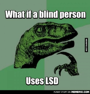 I mean, he wouldn't se anything. What would he feel?omg-humor.tumblr.com: What if a blind person  Uses LSD  FUNNY STUFF ON MEMEPIX.COM  MEMEPIX.COM I mean, he wouldn't se anything. What would he feel?omg-humor.tumblr.com