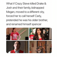 Crazy, Drake, and Drake & Josh: What if Crazy Steve killed Drake &  Josh and their family, kidnapped  Megan, moved to a different city,  forced her to call herself Carly,  pretended he was his older brother,  and renamed himself spencer Hey guys if you like nostalgic posts that'll make you feel all warm & fuzzy inside and remind you of your childhood, checkout @childhoodmemorie.s it's an account a good friend of mine runs. Much love, hope you guys have a good day. 💕💕💕💕