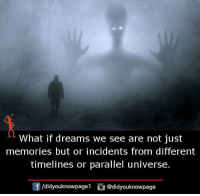 parallel universe: What if dreams we see are not just  memories but or incidents from different  timelines or parallel universe.  /didyouknowpagel@didyouknowpage
