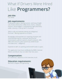 What If Drivers Were Hired Like Programmers?: What If Drivers Were Hired  Like Programmers?  Job title:  Car Driver  Job requirements:  Professional skills in driving normal- and heavy freight  cars, buses and trucks, trolley buses, trams, subways  tractors, shovel diggers, contemporary light and heavy  tanks currently in use by NATO countries  Skills in rally and extreme driving are obligatory!  Formula-1 driving experience is a plus  Knowledge and experience in repairing of piston and  rotor/Wankel engines, automatic and manual  transmissions, ignition systems, board computer, ABS,  ABD, GPS and car audio systems by world-known  manufacturers obligatory!  Experience with car painting and tinsmith tasks is a plus.  The applicants must have certificates by BMw. General  Motors and Bosch, but not older than two years.  Compensation:  $15-$20/hour, depends on the interview result.  Education requirements:  Bachelor's Degree of Engineering What If Drivers Were Hired Like Programmers?