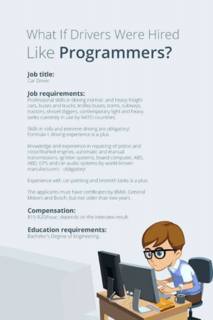 Are you a programmer?: What If Drivers Were Hired  Like Programmers?  Job title:  Car Driver  Job requirements:  Professional skills in driving normal- and heavy-freight  cars, buses and trucks, trolley buses, trams, subways,  tractors, shovel diggers, contemporary light and heavy  tanks currently in use by NATO countries.  Skills in rally and extreme driving are obligatory!  Formula-1 driving experience is a plus  Knowledge and experience in repairing of piston and  rotor/Wankel engines, automatic and manual  transmissions, ignition systems, board computer, ABS,  ABD, GPS and car-audio systems by world-known  manufacturers obligatory!  Experience with car-painting and tinsmith tasks is a plus  The applicants must have certificates by BMW, General  Motors and Bosch, but not older than two years.  Compensation:  $15-$20/hour, depends on the interview result.  Education requirements:  Bachelor's Degree of Engineering. Are you a programmer?
