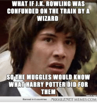 "Harry Potter, Memes, and Http: WHAT IF I.K. ROWLING WAS  CONFUNDED ON THE TRAIN BYA  WIZARD  SOTHE MUGGLES WOULD KNOW  WHAT HARRY POTTER DID FOR  THEM  made on  Banned in 0 countries  MUGGLENET MEMES.COM <p>To Harry! <a href=""http://ift.tt/1o1nGm9"">http://ift.tt/1o1nGm9</a></p>"