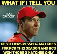 Memes, Troll, and Cricket: WHAT IF I TELL YOU  TROLL  CRICKET  DE VILLIERS MISSED 2MATCHES  FOR RCB THISSEASON AND RCB  WON THOSE 2 MATCHES ONLY Unlucky for RCB.