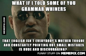 All the language critique has been bothering me.omg-humor.tumblr.com: WHAT IF I TOLD SOME OF YOU  GRAMMAR WHINERS  THAT ENGLISH ISN'T EVERYBODY'S MOTHER TONGUE  AND CONSTANTLY POINTING OUT SMALL MISTAKES  IS RUDE AND DISCOURAGING?  FUNNY STUFF ON MEMEPIX.COM  MEMEPIX.COM All the language critique has been bothering me.omg-humor.tumblr.com