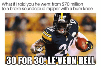 Memes, SoundCloud, and 🤖: What if I told you he went from $70 million  to a broke soundcloud rapper with a bum knee  30 FOR 30ALE'VEON BELL 😱 https://t.co/tP19Lin1uh
