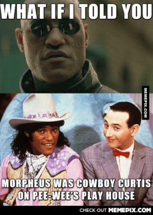 Laurence Fishburne's acting career has come a long wayomg-humor.tumblr.com: WHAT IF I TOLD YOU  MORPHEUS WAs COWBOY CURTIS  ON PEE-WEE'S PLAY HOUSE  CHECK OUT MEMEPIX.COM  MEMEPIX.COM Laurence Fishburne's acting career has come a long wayomg-humor.tumblr.com