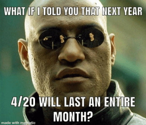 420: WHAT IF I TOLD YOU THAT NEXT YEAR  4/20 WILL LAST AN ENTIRE  MONTH?  made with mematic 420