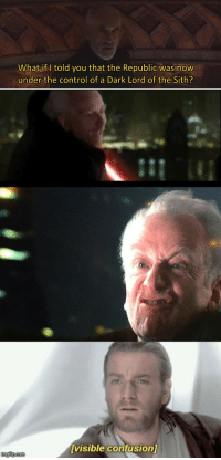 Sith, Control, and Dark: What if I told you that the Republic was now  under the control of a Dark Lord of the Sith?  it  Visible confusion  imgflip.com