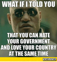 Love, Tumblr, and Blog: WHAT IF I TOLD YOU  THAT YOU CAN HATE  YOUR GOVERNMENT  AND LOVE YOUR COUNTRY  AT THE SAME TIME  THE META PICTURE srsfunny:  They Aren't Mutually Exclusive