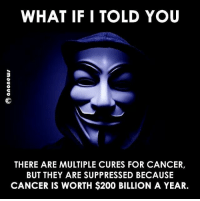 Memes, 🤖, and Cure: WHAT IF I TOLD YOU  THERE ARE MULTIPLE CURES FOR CANCER,  BUT THEY ARE SUPPRESSED BECAUSE  CANCER IS WORTH $200 BILLION A YEAR. Sad truth😡