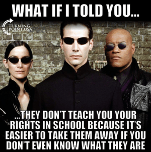 Memes, School, and 🤖: WHAT IF I TOLD YOU  TURNING  POINT U  THEY DON'T TEACH YOU YOUR  RIGHTS IN SCHOOL BECAUSE IT'S  EASIER TO TAKE THEM AWAY IF YOU  DON'T EVEN KNOW WHAT THEY ARE