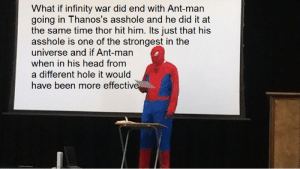 Head, Infinity, and Thor: What if infinity war did end with Ant-man  going in Thanos's asshole and he did it at  the same time thor hit him. lts just that his  asshole is one of the strongest in the  universe and if Ant-man  when in his head from  a different hole it would  have been more effectiv i cant think of something to go here