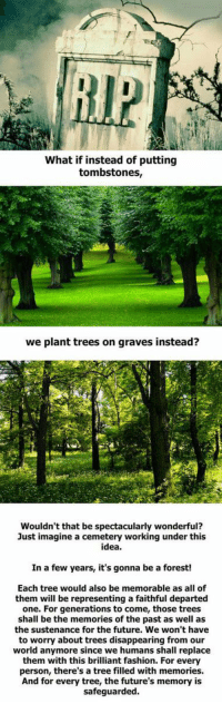 Memes, 🤖, and Graves: What if instead of putting  tombstones,  we plant trees on graves instead?  Wouldn't that be spectacularly wonderful?  Just imagine a cemetery working under this  idea.  In a few years, it's gonna be a forest!  Each tree would also be memorable as all of  them will be representing a faithful departed  one. For generations to come, those trees  shall be the memories of the past as well as  the sustenance for the future. We won't have  to worry about trees disappearing from our  world anymore since we humans shall replace  them with this brilliant fashion. For every  person, there's a tree filled with memories.  And for every tree, the future's memory is  safeguarded. Good Idea