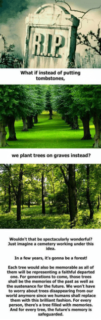 That make sense https://t.co/GCfdyraEFq: What if instead of putting  tombstones,  we plant trees on graves instead?  Wouldn't that be spectacularly wonderful?  Just imagine a cemetery working under this  idea.  In a few years, it's gonna be a forest!  Each tree would also be memorable as all of  them will be representing a faithful departed  one. For generations to come, those trees  shall be the memories of the past as well as  the sustenance for the future. We won't have  to worry about trees disappearing from our  world anymore since we humans shall replace  them with this brilliant fashion. For every  person, there's a tree filled with memories.  And for every tree, the future's memory is  safeguarded That make sense https://t.co/GCfdyraEFq