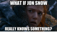 WHAT IF JON SNOW  REALLY KNOWSSOMETHING? Game of Thrones Memes