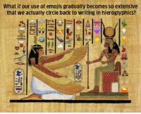 Emojis, History, and Back: What if our use of emojis gradually becomes so extensive  that we actually circle back to writing in hieroglyphics? <p>It Seems That History Repeats Itself.</p>