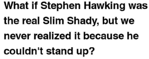 meirl: What if Stephen Hawking was  the real Slim Shady, but we  never realized it because he  couldn't stand up? meirl