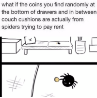 <p>Spiders chipping in</p>: what if the coins you find randomly at  the bottom of drawers and in between  couch cushions are actually from  spiders trying to pay rent <p>Spiders chipping in</p>