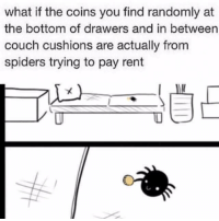 Couch, Spiders, and Rent: what if the coins you find randomly at  the bottom of drawers and in between  couch cushions are actually from  spiders trying to pay rent Paying rent