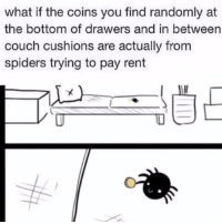 awesomacious:  They just trying to help out: what if the coins you find randomly at  the bottom of drawers and in between  couch cushions are actually from  spiders trying to pay rent awesomacious:  They just trying to help out