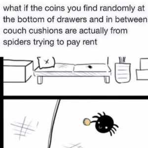 positive-memes:  They just trying to help out: what if the coins you find randomly at  the bottom of drawers and in between  couch cushions are actually from  spiders trying to pay rent positive-memes:  They just trying to help out