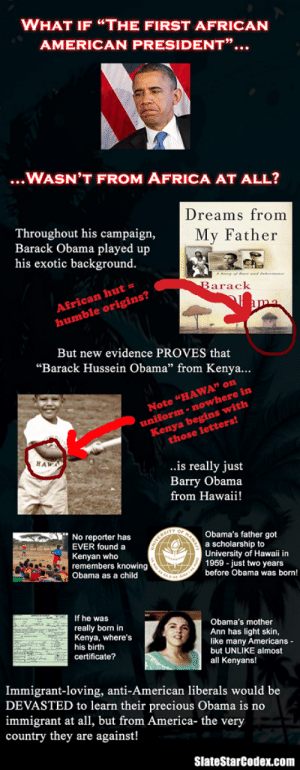 """Africa, America, and Obama: WHAT IF """"THE FIRST AFRICAN  AMERICAN PRESIDENT""""...  ...WASN'T FROM AFRICA AT ALL?  Throughout his campaign,  Barack Obama played up  his exotic background.  Dreams from  My Father  African hut =  humble origins?  arack  But new evidence PROVES that  """"Barack Hussein Obama"""" from Kenya...  Note """"HAWA"""" orn  uniform-nowhere  those letters!  in  Kenya begins with  HAW  ..is really just  Barry Obama  from Hawaii!  No reporter has  EVER found a  Kenyan who  remembers knowing  Obama as a child  Obama's father got  a scholarship to  University of Hawaii in  1959 - just two years  before Obama was born!  If he was  really born in  Kenya, where's  his birth  certificate?  Obama's mother  Ann has light skin,  like many Americans  but UNLIKE almost  all Kenyans!  Immigrant-loving, anti-American liberals would be  DEVASTED to learn their precious Obama is no  immigrant at all, but from America- the very  country they are against!  SlateStarCodex.com The Truth about Obama"""