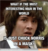 interesting: WHAT IF THE MOST  INTERESTING MAN IN THE  WORLD  IS JUST CHUCK NORRIS  IN A MASK!  Handcrafted by  crazypants300 for iFunny:)
