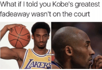 Basketball, Nba, and Sports: What if told you Kobe's greatest  fadeaway wasn't on the court  ONBAMEMES lmao 😂 nbamemes nba kobe