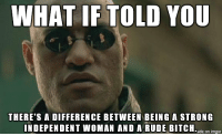 "Advice, Bitch, and Rude: WHAT IF TOLD YOU  THERE'S A DIFFERENCE BETWEEN BEING A STRONG  INDEPENDENT WOMAN AND A RUDE BITCH.de mgu <p><a href=""http://advice-animal.tumblr.com/post/174068410938/usually-the-self-proclaimed"" class=""tumblr_blog"">advice-animal</a>:</p>  <blockquote><p>Usually the self proclaimed</p></blockquote>"