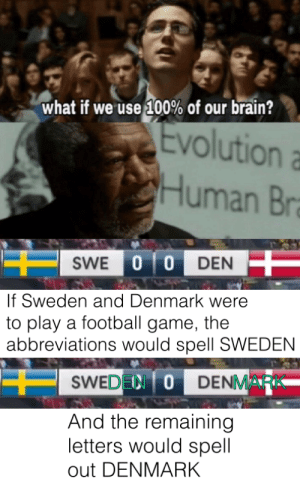 Wait, hold up by PancakeIsMyCity MORE MEMES: what if we use 100% of our brain?  Evolution  Human Br  SWE 0 0 DEN  If Sweden and Denmark were  to play a football game, the  abbreviations would spell SWEDEN  SWEDEN ODENMARK  And the remaining  letters would spell  out DENMARK Wait, hold up by PancakeIsMyCity MORE MEMES