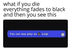 Black, MeIRL, and Can: what if you die  everything fades to black  and then you see this  You can now play  Luigi.  as meirl