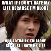 Could this revelation solve all of my problems?: WHAT IFI DON'T HATE MY  LIFE BECAUSE I'M ALONE  BUT ACTUALLY ITM ALONE  BECAUSE I HATE MY LIFE  made on inngur Could this revelation solve all of my problems?