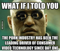 What Ifi Told You The Pornindustry Hasbeen The Leading Driver Of Consumer Video Technology Since Day One Technology Meme On Me Me