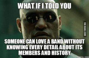If you ask me what bands I like, you dont have to start quizzing me about them: WHAT IFITOLD YOU  SOMEONE CAN LOVEA BAND WITHOUT  KNOWING EVERY DETAILABOUT ITS  MEMBERS AND HISTORY  MEMEFUL.COM If you ask me what bands I like, you dont have to start quizzing me about them