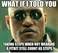 "Advice, Tumblr, and Animal: WHAT IFITOLD YOU  TAKING STEPS WHEN NOT WEARING  A FITBIT STILL COUNTAS STEPS  imgflip.co <p><a href=""http://advice-animal.tumblr.com/post/175721070640/steps-count-even-if-they-arent-counted"" class=""tumblr_blog"">advice-animal</a>:</p>  <blockquote><p>Steps count even if they aren't counted.</p></blockquote>"