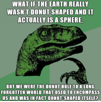 Earth, World, and Hole: WHAT IFTHE EARTH REALLY  WASN'T DONUT SHAPED AND IT  ACTUALLY LS A SPHERE  BUT WE WERE THE DONUT HOLE TO A LONG  FORGOTTEN WORLD THAT USED TO ENCOMPASS  US AND WAS IN FACT DONUT-SHAPED ITSELF? It all makes sense now
