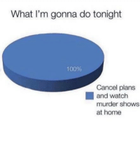 Anaconda, Funny, and Memes: What I'm gonna do tonight  100%  Cancel plans  and watch  murder shows  at home SarcasmOnly