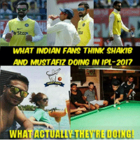 Life, Memes, and Money: WHAT INDIAN FANS THINK SHAKIB  AND MUSTAFizDOING IN IPL-2017  ETMEMES  WH Shakib & Fizz earning a lot of money without playing coz #Thug_Life B|   By: Tahmid Ansari