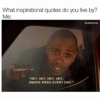 "@wolfiememes: What inspirational quotes do you live by?  Me:  @wolfiememes  ""HEY, HEY, HEY, HEY  SMOKE WEED EVERY DAY."" @wolfiememes"