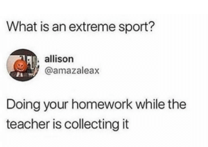 Teacher, What Is, and Homework: What is an extreme sport?  allison  @amazaleax  Doing your homework while the  teacher is collecting it It is