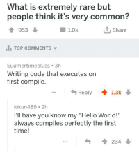 """We have all been there: What is extremely rare but  people think it's very common?  1953  1.0k  Share  1I TOP COMMENTS  Suumertimebluss 3h  Writing code that executes o  first compile.  ...Reply 1.3k  lokun489 2h  I'll have you know my """"Hello World!""""  always compiles perfectly the first  time!  234 We have all been there"""