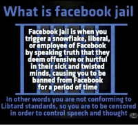"Are you ""guilty""?: What is facebook jail  Facebook Jail is when you  trigger a snowflake, liberal,  or employee of Facebook  by speaking truth that the  eem offensive or hurtfu  in their sick and twisted  minds, causing you to be  banned from Facebook  for a period of time  in other words you are not conforming to  Libtard standards, so you are to be censored  in order to control speech and thought Are you ""guilty""?"