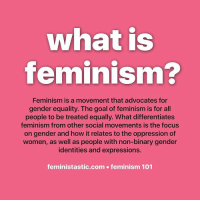 Goals, Memes, and Equalizer: what is  feminism?  Feminism is a movement that advocates for  gender equality. The goal of feminism is for all  people to be treated equally. What differentiates  feminism from other social movements is the focus  on gender and how it relates to the oppression of  women, as well as people with non-binary gender  identities and expressions.  feministastic.com feminism 101