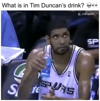 Memes, What Is, and 🤖: What is in Tim Duncan's drink? 5-  @_nbamemes  SP  SA His reaction tho 💀😂👀 - Follow @_nbamemes._