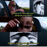 The Incredibles: What is it? Who are you?  What do you want?  Come, come The Incredibles
